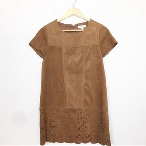 Taylor & Sage | Brown Faux Suede Cutout Dress XS